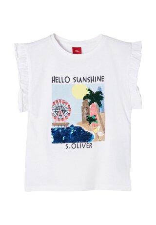 Print-Shirt mit Wendepailletten