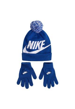 Bommel-Beanie & Handschuhe Set