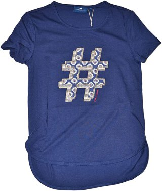 Tee with patch details Blau 128