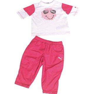 Langarmshirt + Sporthose Set Weiß/Pink 92